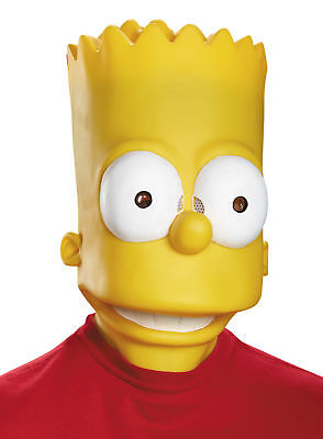 Simpsons Halloween Characters (Bart Simpson Adult Mask Cartoon Character Disguise 85374 Yellow Head)