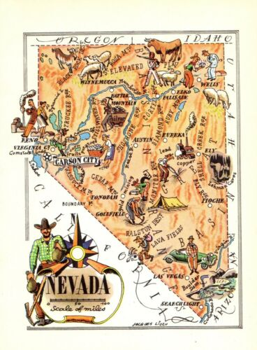 1940s Antique Animated NEVADA State Map Vintage Cartoon Map of Nevada 7811