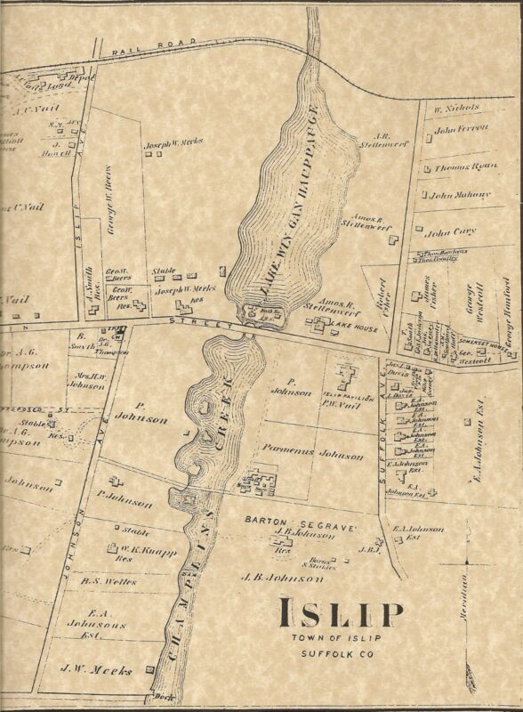 Islip Long Island NY 1873 Maps with Businesses and Homeowners Shown