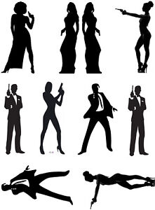 James Bond 007 Cake Topper Silhouettes  A4 Edible Printed Iced Sheet