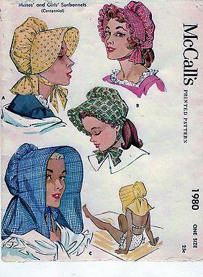 VINTAGE-1955 - LADIES AND GIRLS- MULTI  SUN BONNET STYLE HAT PATTERN... # 411