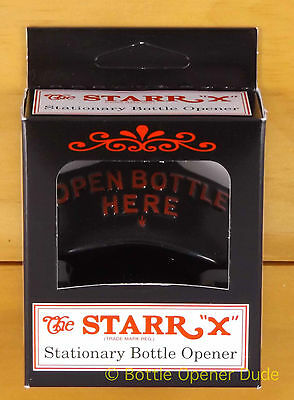 BLACK Starr X OPEN BOTTLE HERE Wall Mount Stationary Bottle Opener NEW!!!