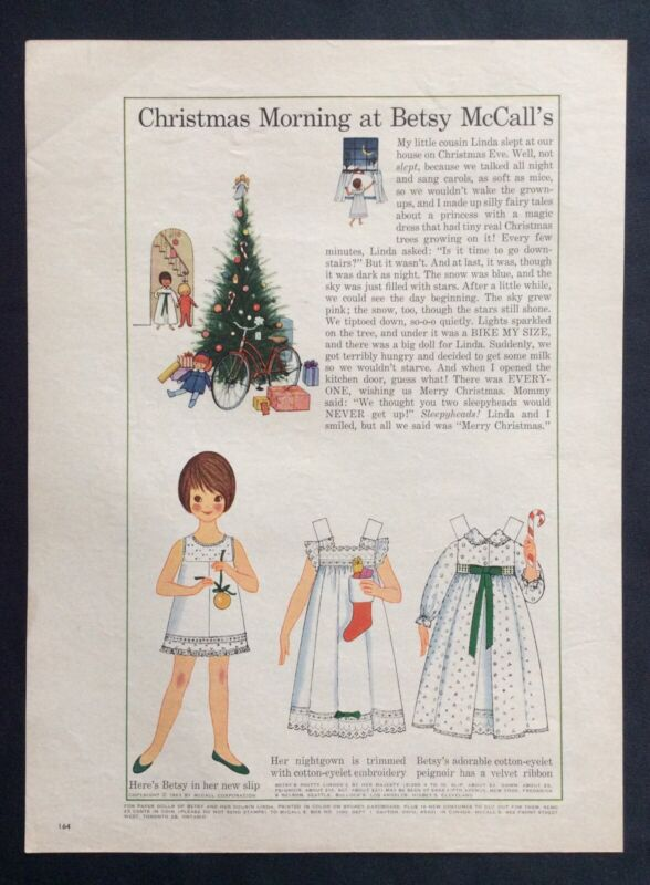 Vintage Betsy McCall Mag. Paper Doll, Morning at Betsy McCalls, Dec. 1963