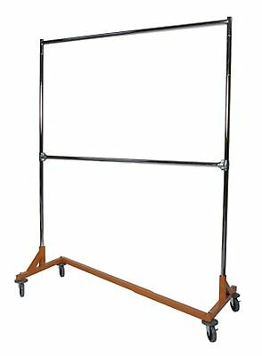 Heavy Duty Commercial Grade Double Bar Z Rack Clothing Garment Clothes Rolling