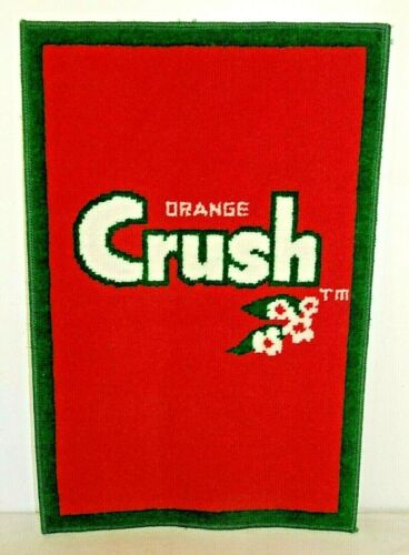 """NOS Vintage 1970s ORANGE CRUSH Advertising RUG MAT, Soda Pop, 18""""x 27"""""""