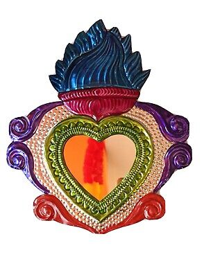 Large Mexican Tin Heart Mirror Milagro Handcut & Painted Authentic Folk Art #006