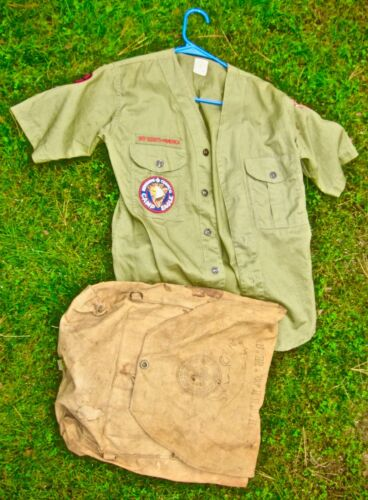 Vintage Boy Scouts of America  Canvas Ruck Sack & Shirt