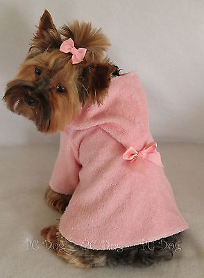 M New Pink Terry Cloth Hooded Dog Bathrobe clothes pet apparel Medium PC Dog®