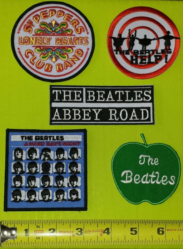 5 THE BEATLES ABBEY ROAD HELP SGT PEPPER A HARD DAYS NIGHT CREST PATCH LOT