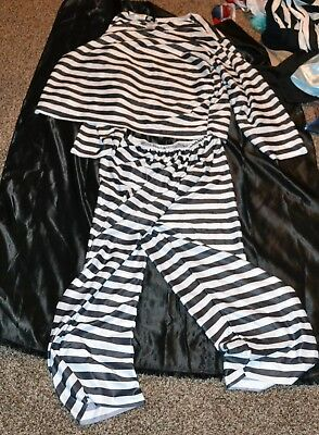 Jail Bird Convict Prision Outfit Halloween Costume Fit Adults One Size Fits - Convict Outfit