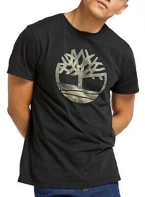 Timberland Kennebec Retro Tree Logo T-shirt Mens Crew Neck Cotton Tee Top Black