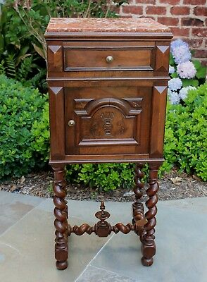 Antique French Walnut BARLEY TWIST Marble Top Side Cabinet Nightstand End Table
