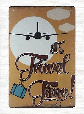 US Seller- It's Travel Time airplane tin metal sign discount wall decor - Discount Wall Decor