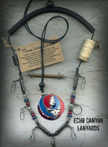 Grateful Dead Abel Reel Inspired Fly Fishing Lanyard, USA Hand Crafted