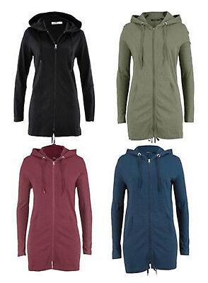 Shirt-jacke (Shirtjacke mit Kapuze dünn, Parka-Jacke, Damenjacke, Longjacke in 4 Farben NEU)