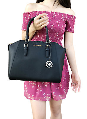 Michael Kors Ciara Large Top Zip Satchel Black Saffiano