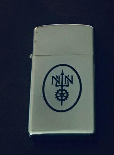 Zippo Slim Lighter Trident/Gears Logo Minor Corroded Chrome Overall Nice 1969(?)