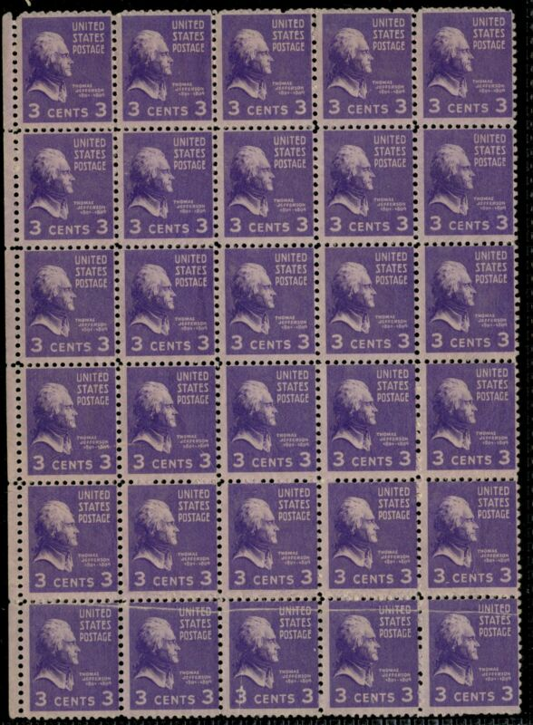 #807 Var. Blk/30 Double Paper & Pre-print Paper Fold Error On 5 Stamps Bp9399