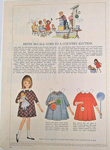 """1965 Vintage Betsy McCall Paper Doll Cut Out, """"Betsy Goes to a Country Auction"""""""