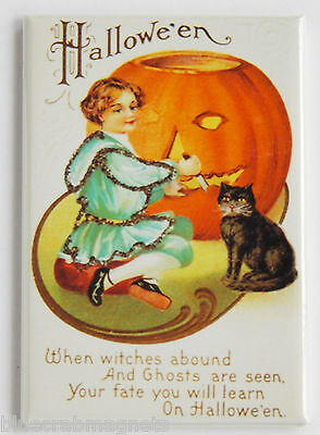 Girl Carving Pumpkin FRIDGE MAGNET (2 x 3 inches) happy halloween black cat