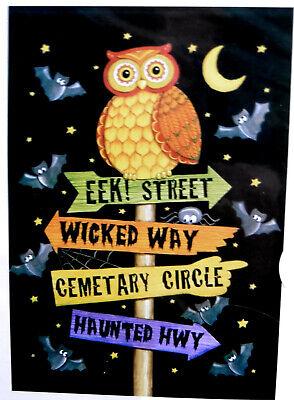 """LRG Halloween OWL and Bats House Porch Flag (28"""" x 40"""") 2 sided"""