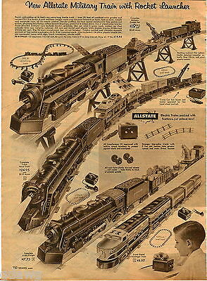 1957 ADVERT 5 Page Allstate Electric Train Sets 7 Unit Work Diesel Freight