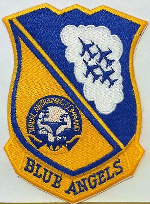 BLUE ANGELS SEAL PATCH US NAVY AIR TRAINING COMMAND IRON-ON Patch Gold & Blue