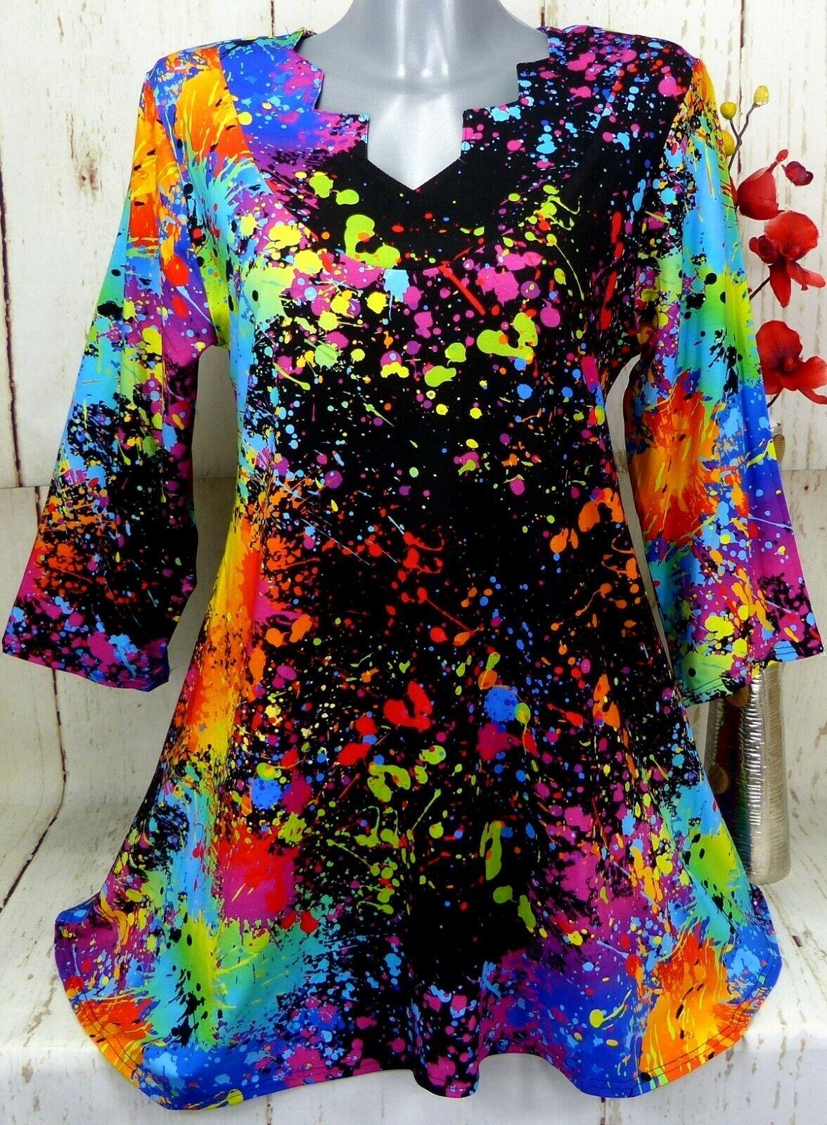 New Jersey Tunika Bluse Kleid Top Shirt Lagenlook A-Linie Schwarz Bunt  48 50