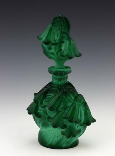 Art Deco Glass Jade Malachite Vintage Perfume Bottle 1930