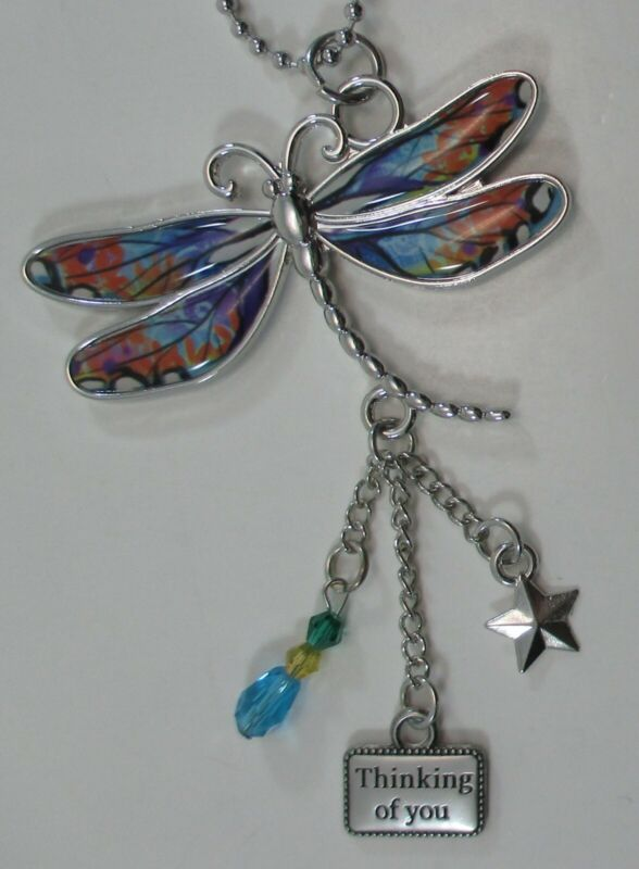 zzw Thinking of you LIVE with gratitude DRAGONFLY CAR MIRROR CHARM ORNAMENT ganz