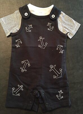 2 Piece  Nautical Baby Shower Gift  Anchor Set Baby Boy Size 0-3 Months NWT