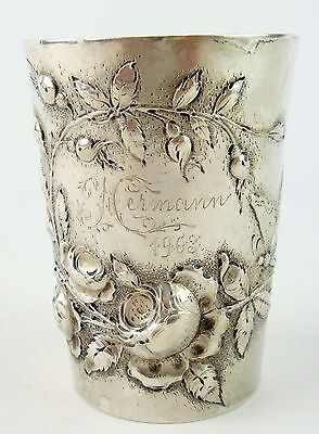 Jugendstil Silberbecher um 1900, 800 gestempelt Mond/Krone gepunzt innen verg.