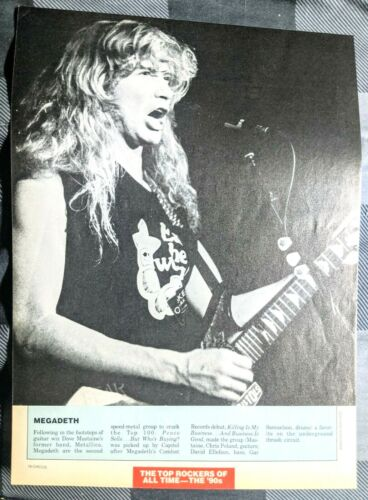 MEGADETH / DAVE MUSTAINE LIVE / MAGAZINE FULL PAGE PINUP POSTER CLIPPING (20)