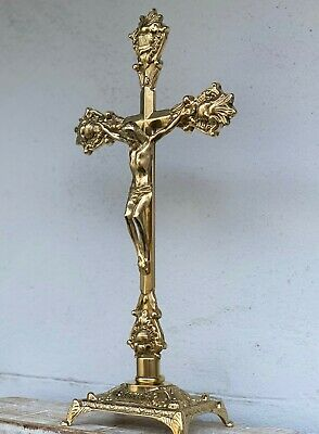 Brass Crucifix cross Jesus Christ Altarfix Antique Altar New Standing