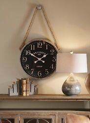 VINTAGE LONDON FARMHOUSE MATTE BLACK 23 ROUND WALL CLOCK WOVEN HANGING ROPE