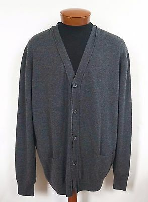 $995 NWT Authentic LANVIN Paris Gray 100% CASHMERE Knitted Cardigan Sweater 3XL