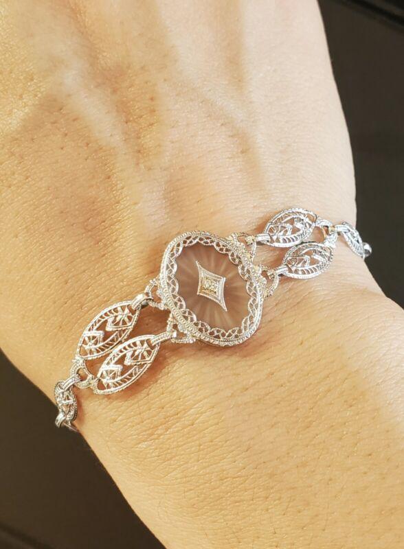 10k White Gold Camphor Glass Diamond Filigree Bracelet