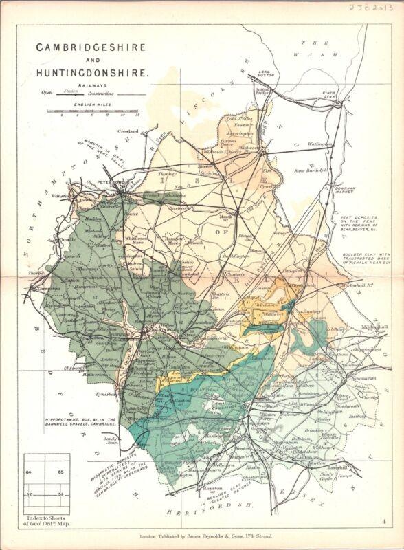 Antique map, Cambridgeshire and Huntingdonshire