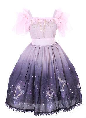 JSK-23-2 Lila Rosa Horoskop Sternzeichen Pastel Goth Lolita Chiffon Kleid Perlen