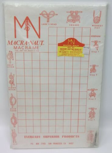 Vintage NOS Macra-Naut Macrame Art of Knotting Instructional Learning Board Kit