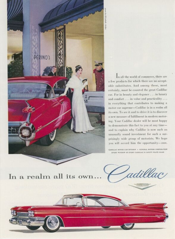 1959 Cadillac Auto Ad Perino's Restaurant Los Angeles CA Elizabeth Arden Fins