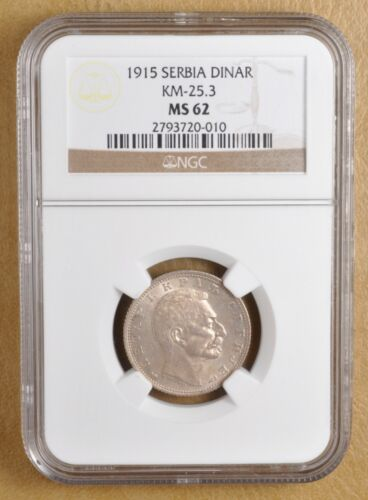 1915 Serbia Dinar KM-25.3 NGC MS62