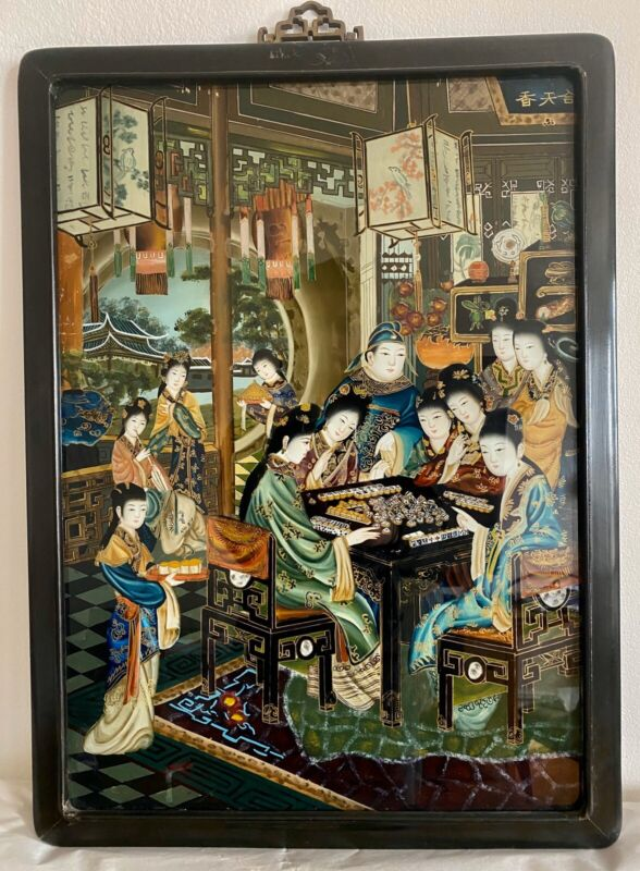Antique Chinese Reverse Glass Painting Mahjong Game On a Spring Day 20th Century
