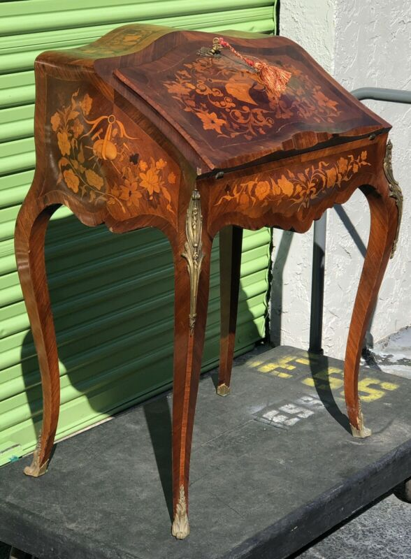 Antique French secretary, Fruitwood Marquetry ladies desk, Music Theme Louis XV