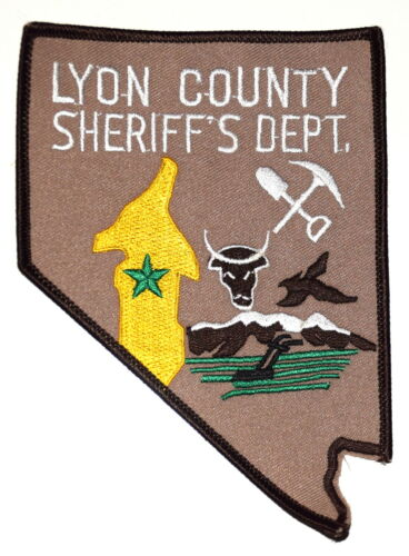 LYON COUNTY NEVADA NV Police Sheriff Patch COW PICK AX SHOVEL MOUNTAINS ~