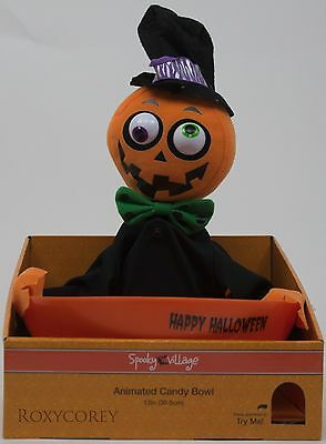 Halloween Spooky Village Animated Snapping Sam Pumpkin Candy Dish - Spooky Halloween Candy