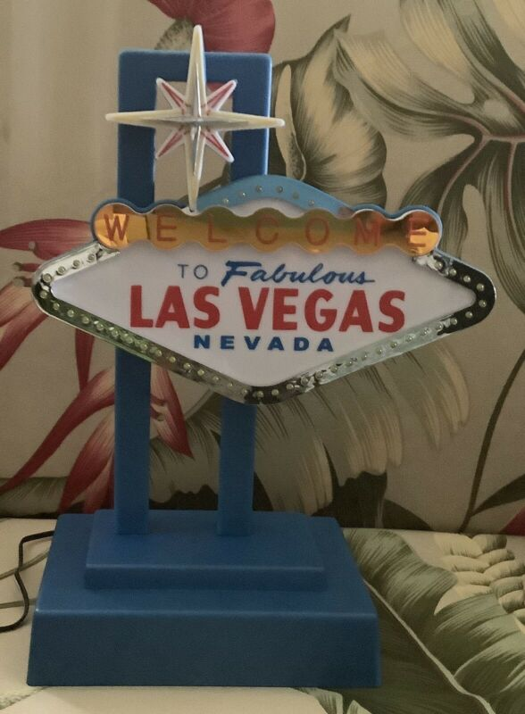 WELCOME TO LAS VEGAS Nevada Sign Table Top Desk Light Lamp Flashing Retro WORKS!