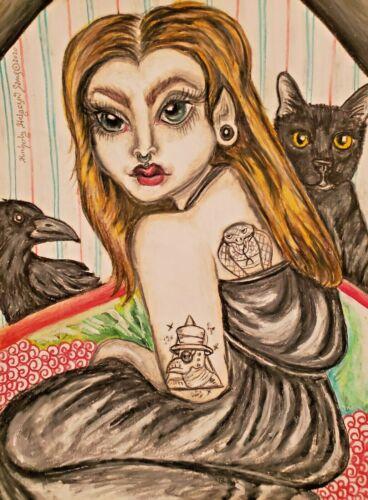 13x19 Gothic Elf Girl Tattoo Piercings Crow Black Cat Art Print by Artist KSams