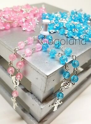 24 Mini Rosary Baptism Favors Girl Boy First Communion Recuerdos Bautizo Pink - Boys First Communion