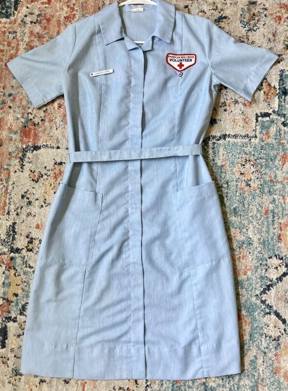 Vintage American Red Cross Dress Volunteer Hoover Uniform Belt Nurse w Belt Pin